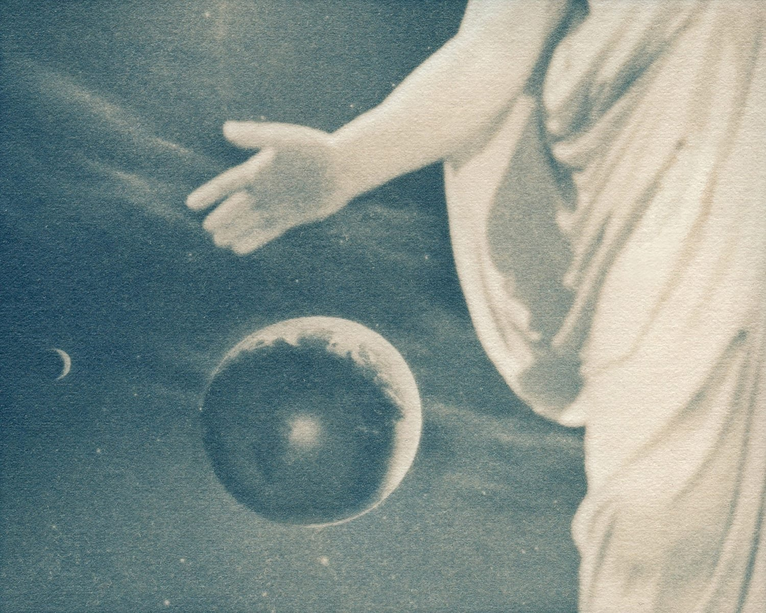 """Solitary,"" 2018. Gum Bichromate over Cyanotype"