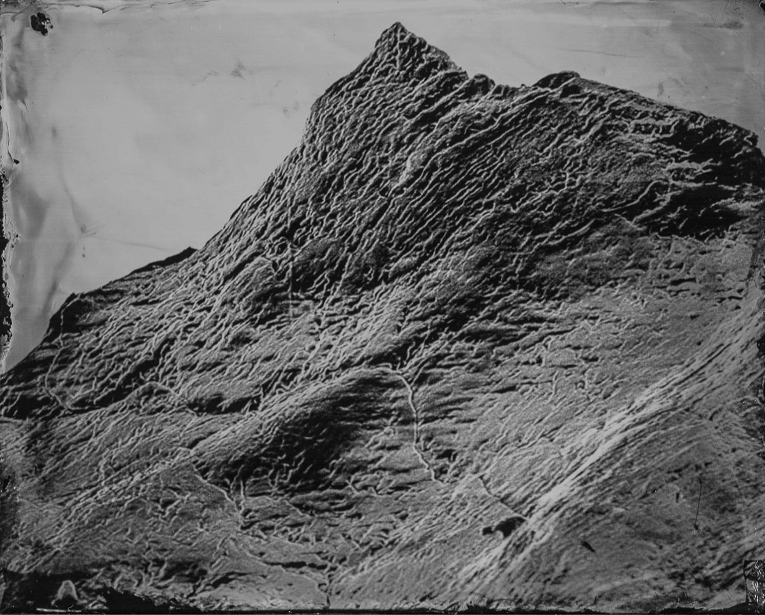 """Landscape VI,"" 2019. Wet Plate Collodion glass plate from a scanning electron microscope"