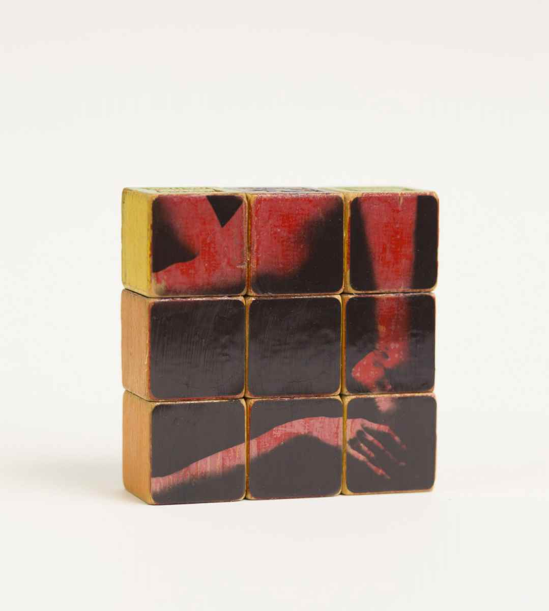 """ Do Not Touch Without Consent,"" 2018. Ortho Litho Film on vintage wooden children blocks"