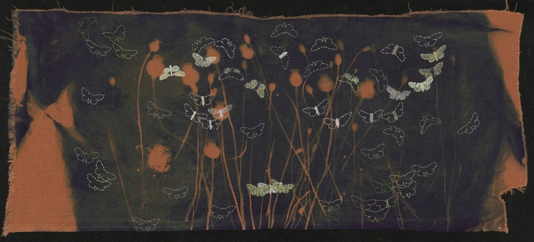 """""""Poppies Surrounded by Embroidered Moths"""", 2020. Cyanotype and embroidery on linen."""