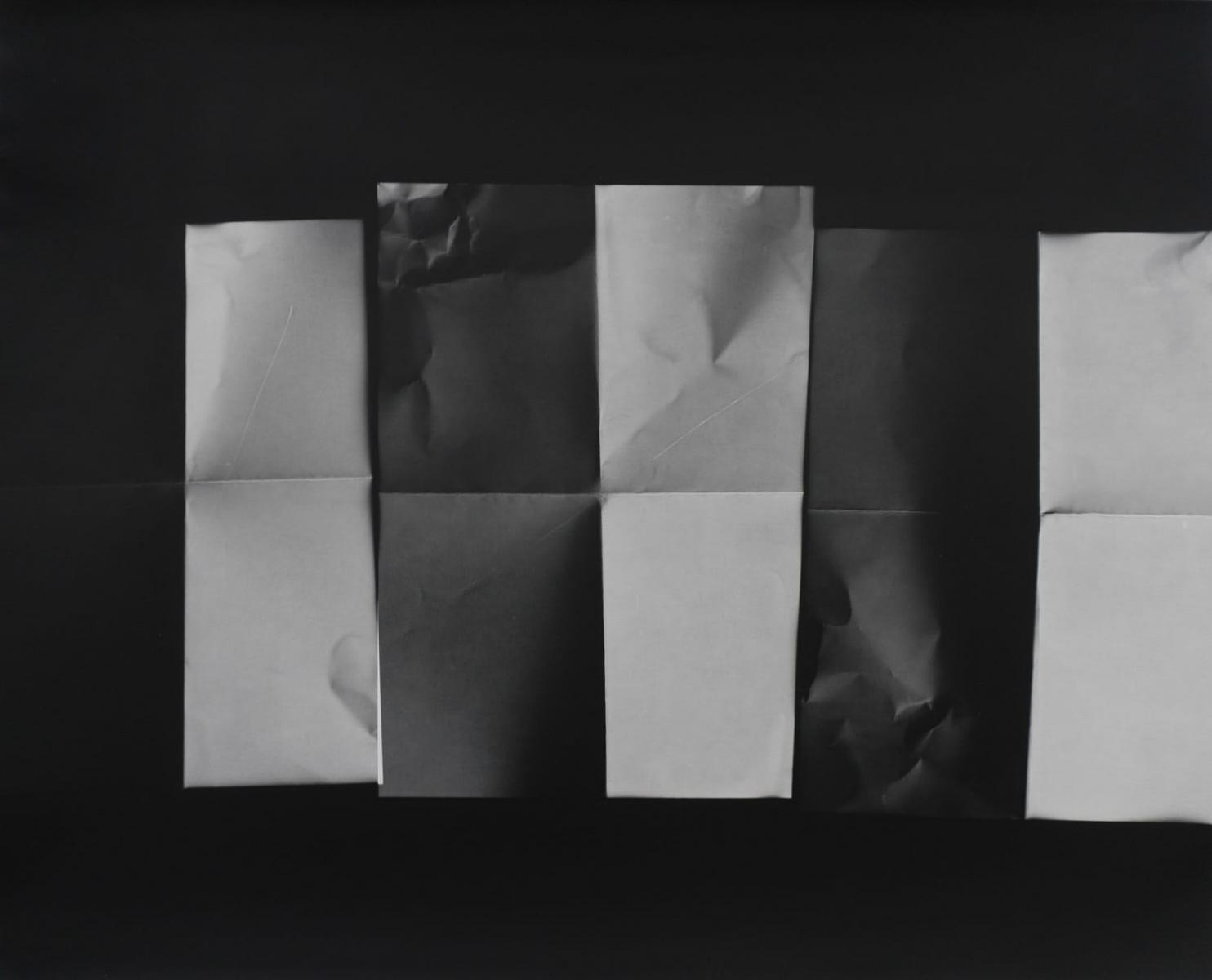 """""""Three letters folded again,"""" 2018. Unique silver gelatin print. From the series """"Fixing a Shadow"""""""