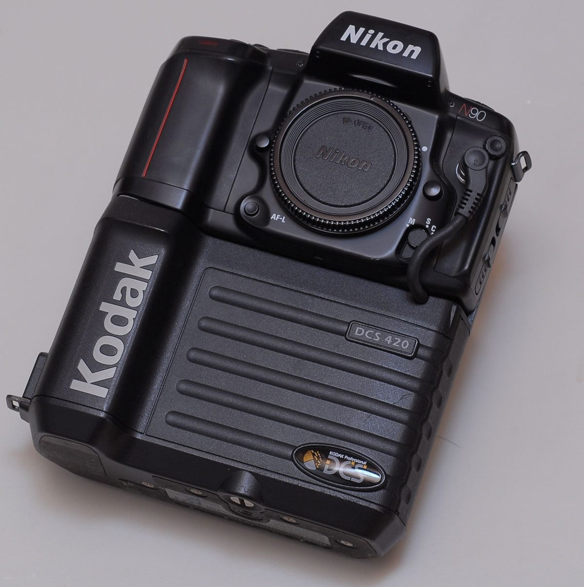 Kodak's first Digital Camera System was based on a Nikon F body. Photo © GcG.