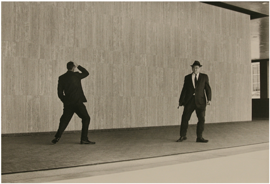 "Two Businessmen, SF, Ca, 1971 Gelatin silver print, 7 ¾ ""× 11 ½ "", Matte 16""× 20"""